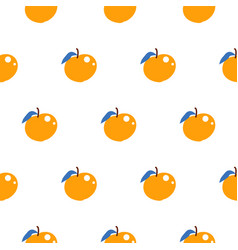 bright summer juicy peach cartoon seamless pattern vector image vector image