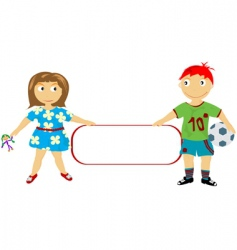 children holding a banner vector image vector image