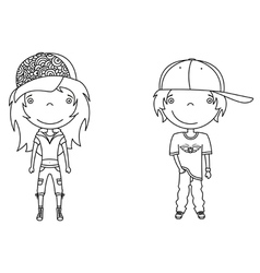 cute modern boy and girl vector image