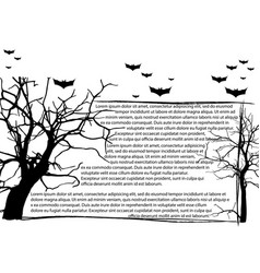 dead tree without leaves and text frame vector image vector image
