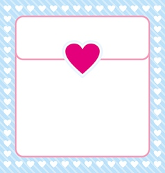 Frame shaped from white heart on blue background vector image