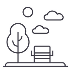 parkgarden line icon sign vector image