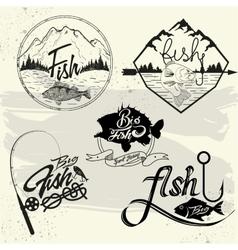 set of fishing club labels design elements vector image vector image