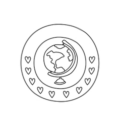 silhouette circular border with hearts and map of vector image