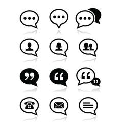 Speech bubble blog contact icons set vector