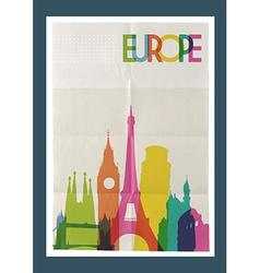 Travel Europe landmarks skyline vintage poster vector image vector image