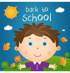 Cartoon of happy little boy in autumn landscape vector image