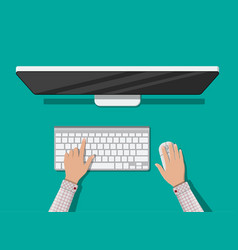 desktop computer with keyboard and mouse vector image vector image