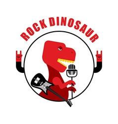 Rock dinosaur emblem for old rock musicians vector image vector image