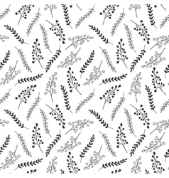 Seamless pattern of black and white leaves vector image