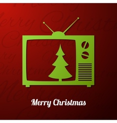 Tv set applique background with Christmas tree vector image