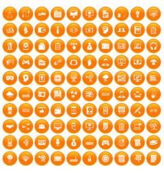 100 it business icons set orange vector