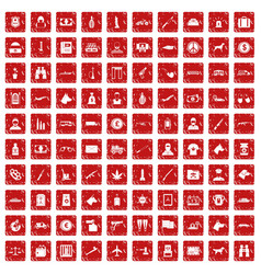 100 smuggling icons set grunge red vector