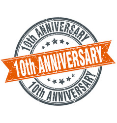 10th anniversary round grunge ribbon stamp vector