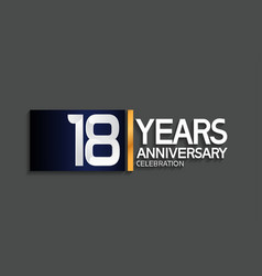 18 years anniversary logotype with blue vector