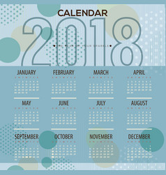 2018 blue dots pattern printable calendar vector