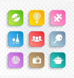Abstract leisure web and mobile icons vector