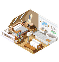 apartment interior isometric composition vector image