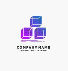 Arrange design stack 3d box purple business logo vector