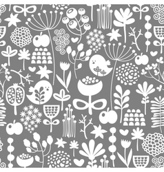 Beautiful seamless texture with birds and flowers vector