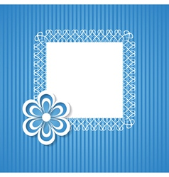blue background with a frame and a paper flower vector image