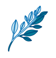 Blue silhouette of branch with leaves vector