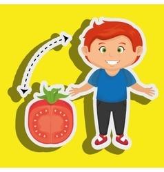 Boy cartoon tomato vegetable health vector