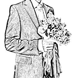 Bridegroom with flowers vector
