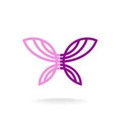 Butterfly logo template Line art silhouette with vector image