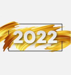 calendar header 2022 number on abstract golden vector image