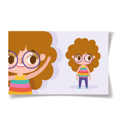 cartoon character animation cute little girl with vector image