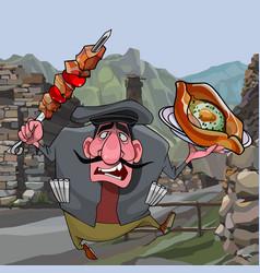 Cartoon man with shashlik and khachapuri in the vector