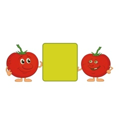 Character tomatoes and poster vector image