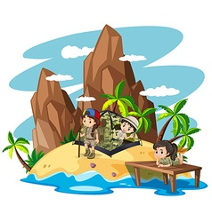 Children camping out on island vector