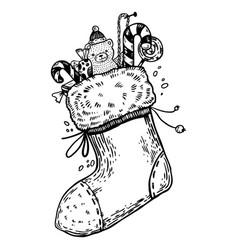 christmas stocking engraving vector image