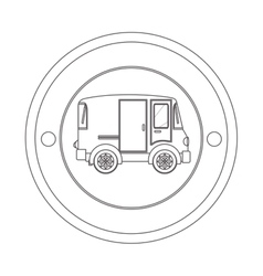 circular contour of silhouette with mini van vector image
