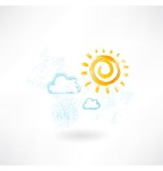 Cloud sun grunge icon vector