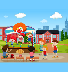 clown stage performance scene vector image