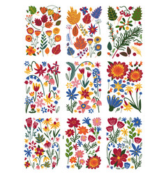 collection of floral patterns set bright colorful vector image