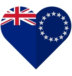 Cook Islands flat heart flag vector