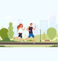couple running happy smiling guys jogging vector image