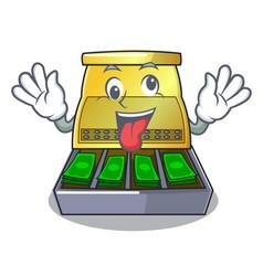 Crazy cartoon cash register with a money drawer vector