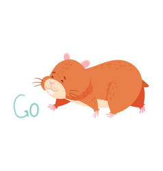 Cute hamster going demonstrating english verb vector