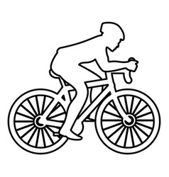 Cyclist on bike silhouette icon black color flat vector