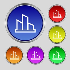 Diagram icon sign Round symbol on bright colourful vector