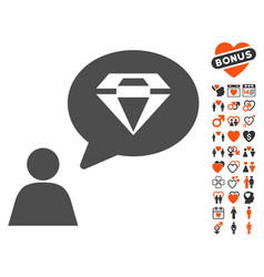 Diamond thinking person icon with love bonus vector