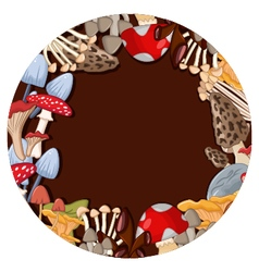 Different kinds of mushrooms with brown circle vector