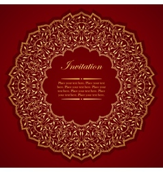 Elegant invitation card with round gold ornament vector