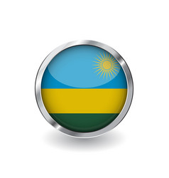 flag of rwanda button with metal frame and shadow vector image