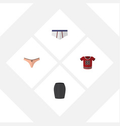 Flat icon garment set of stylish apparel lingerie vector